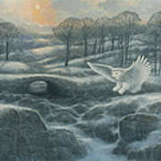 Winter Landscape With Owl Art Print by Marte Thompson