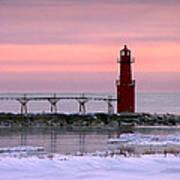 Winter Lighthouse Art Print