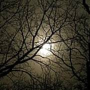 Winter Moon On A Cold Foggy Winter Night Art Print
