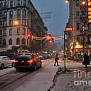 Winter Night On Mulberry Street Art Print by Ed Rooney