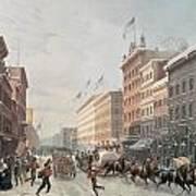 Winter Scene On Broadway Print by American School