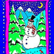Winter Snowman Art Print