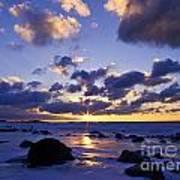 Winter Sunset On Lake Michigan - Fm000053 Art Print
