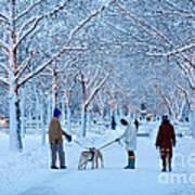 Winter Twilight Walk Art Print