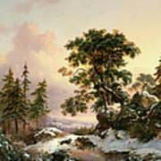 Wolves In A Winter Landscape Art Print