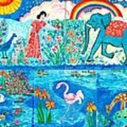 Woman And Blue Elephant Beside The Lake Art Print