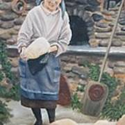 Woman Baking Bread  Art Print