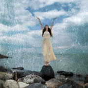 Woman By The Sea With Arms Reaching Up In Praise Art Print