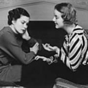 Woman Consoling Friend At Fireplace, (b&w) Art Print