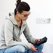 Woman Doing Diy Art Print by Carlos Dominguez