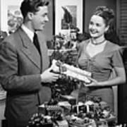 Woman Giving Gift To Man, (b&w) Art Print