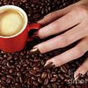 Woman Hand Holding A Cup Of Latte Art Print