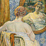 Woman In A Mirror Art Print