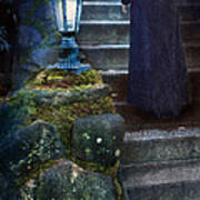Woman In Dark Gown On Old Staircase Art Print