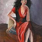 Woman In Red - Inspired By Pino Art Print by Kostas Koutsoukanidis