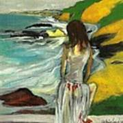 Woman In Sheer Dress By Sea 3d Art Print