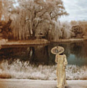 Woman In Vintage Dress With Parason By Lake Art Print