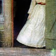 Woman In Vintage Victorian Era Dress In Doorway Art Print