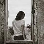 Woman In Window Art Print