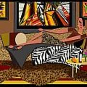 Woman On A Chaise Lounge Art Print