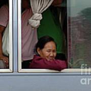Woman On Bus Laos Art Print