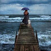 Woman On Dock In Storm Art Print