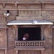 Woman On The Balcony Art Print