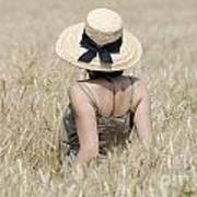 Woman On The Wheat Field Art Print