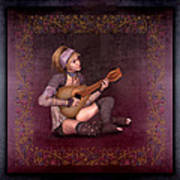 Woman Playing The Lyre Art Print