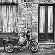 Woman Rushes From Scooter Art Print