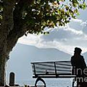 Woman Sitting On A Bench Art Print