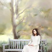 Woman Sitting On Park Bench Art Print