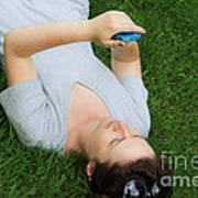 Woman Using Her Iphone Art Print