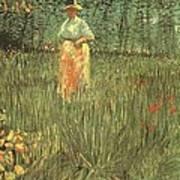 Woman Walking In A Garden Art Print