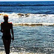 Woman Walking Into Ocean Surf  Art Print