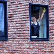 Woman Window Cleaner Art Print