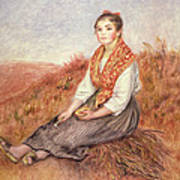 Woman With A Bundle Of Firewood Art Print