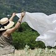 Woman With A White Sheet Art Print