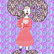 Woman With Crazy Hair Art Print