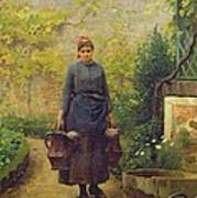 Woman With Watering Cans Art Print