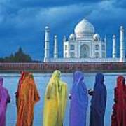 Women In Colorful Saris In Front Of The Art Print