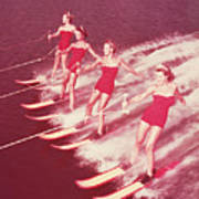 Women Water Skiing Parallel, 1950s Print by Archive Holdings Inc.