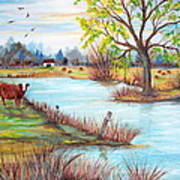 Wonderful Farm Home Art Print by Janna Columbus