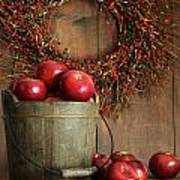 Wood Bucket Of Apples For The Holidays Art Print