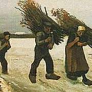 Wood Gatherers In The Snow Art Print