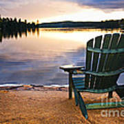 Wooden Chair At Sunset On Beach Art Print by Elena Elisseeva