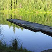 Wooden Dock On Lake Art Print