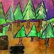 Woods Cut Logs And A Sunset Art Print