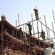 Workers Climb Scaffolding On The Palace Art Print