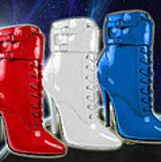 World Domination In Red White And Blue Boots Art Print